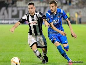 Rajko Brezancic, de azul,  con su anterior equipo / Foto: fudbal.hotsport.rs