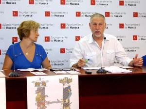 Fernando Gállego y Sonia Blanco han presentado los actos de: Huesca leyenda viva / Foto: Ayto. de Huesca