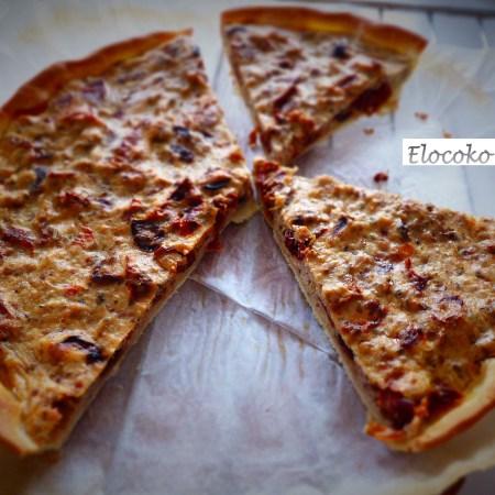 tarte à la brousse, thon et tomates séchées