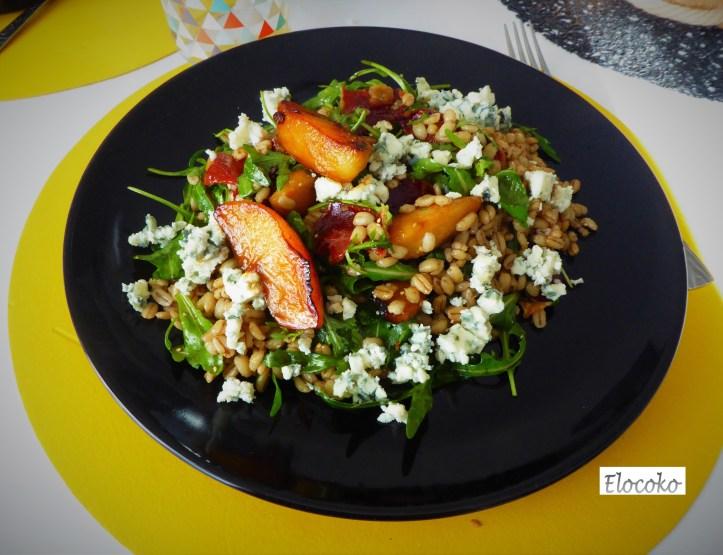 salade orge perlé, roquefort et pommes caramélisées