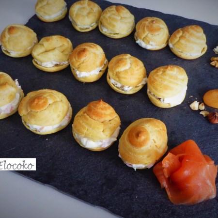 Trio de choux salés pour l'apéritif : roquefort et noix / chèvre, abricots secs et noisettes / saumon et crème citronnée