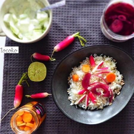 Pickles maison : oignon rouge, vinaigre de framboise et carotte-gingembre
