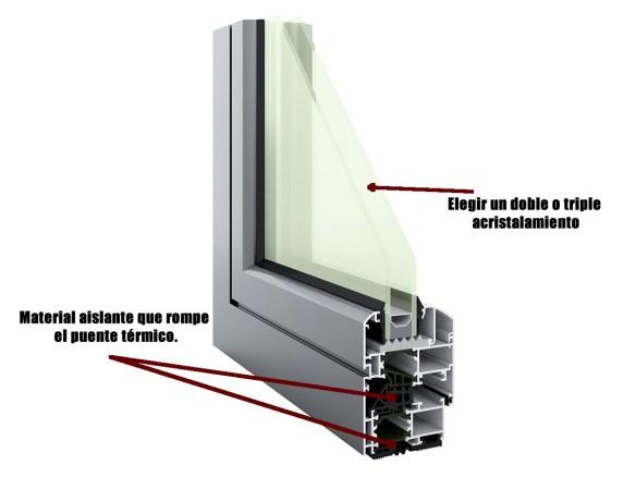 ventana con rotura del puente térmico