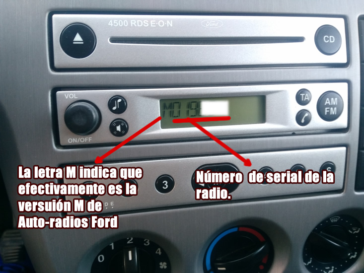 codigo radio ford serial