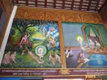 Magnifiques peintures sur les murs expliquant la vie de Buddha