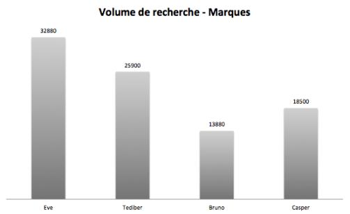 volume mots cles marque matelas graphique