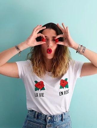kaipih t-shirt coton bio broderie francaise la vie en rose - marques de mode éthique et écologiques pour hommes et femmes ! t-shirt rigolo à message !