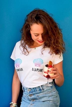 kaipih t-shirt coton bio broderie francaise l'amour à la plage - marques de mode éthique et écologiques pour hommes et femmes !