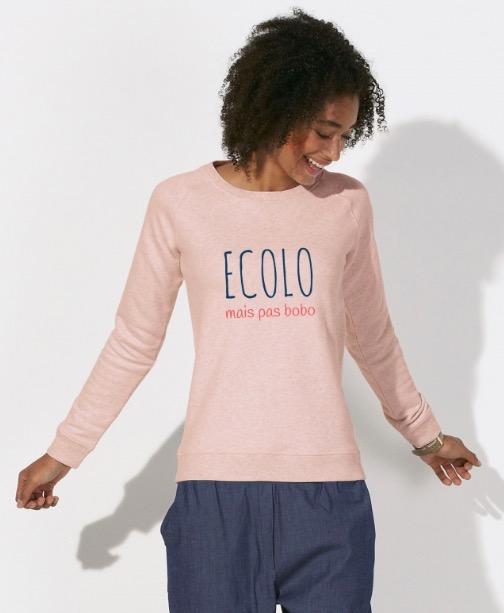 Leax mode éthique écologique made in france sweat à message écolo mais pas boboLeax mode éthique écologique made in france détail boutons en bois tricolore