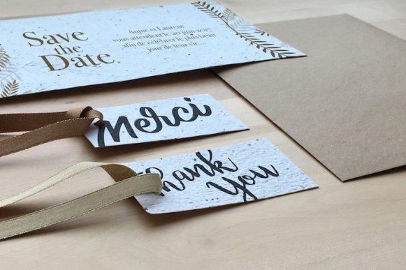 papier ensemencé avec graines idée faire part original - Découvrez le papier ensemencé (seed paper) une idée incroyable pour vos faire parts, packagings, papeterie, cartes de voeux et de remerciements... Mettez-le en terre, arrosez-le, il pousse !