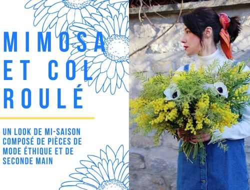 Look mode éthique écologique KLOW Ondinema hiver mi-saison robe salopette en jean pull col roulé doudoune sans manches #lookhiver #hiver #misaison #mode #modeéthique #sustainablefashion #jeans #frenchstyle #colroulé #turtleneck #bouquet #mimosa