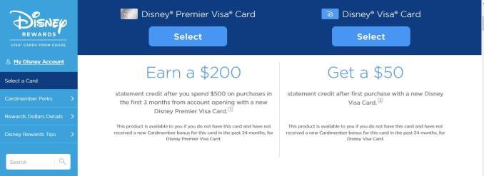chase disney visa credit card login