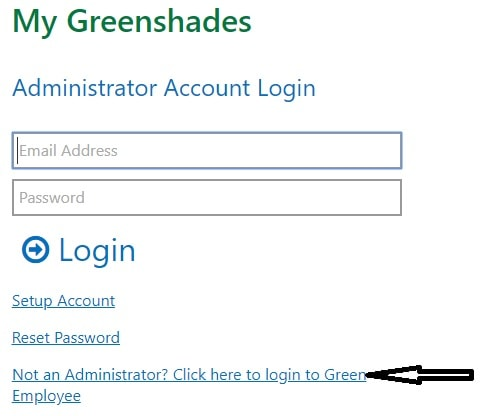 Green Employee Portal Administrator Login