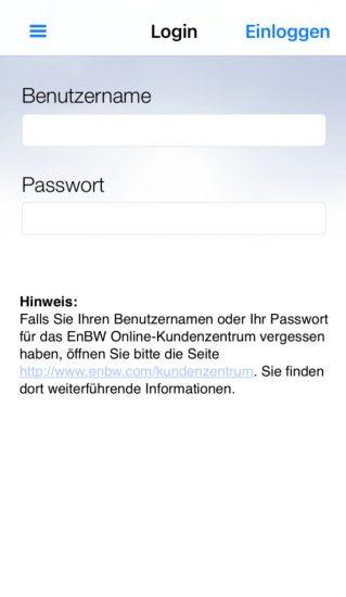Der Login bei der EnBW (Energie Baden-Württemberg) App