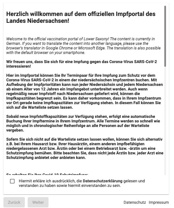 Impfportal Niedersachsen