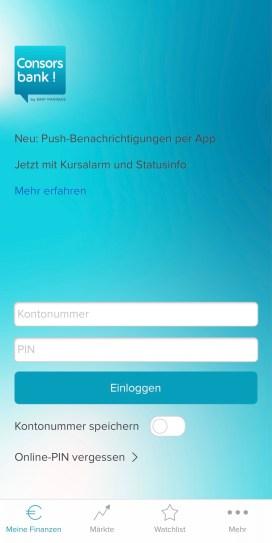Consorsbank Cortal Consors app login