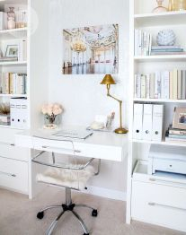 Cozy Home Office Ideas with White Desk Part 7