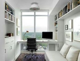 Minimalist Small Home Office Ideas with White Desk Part 25