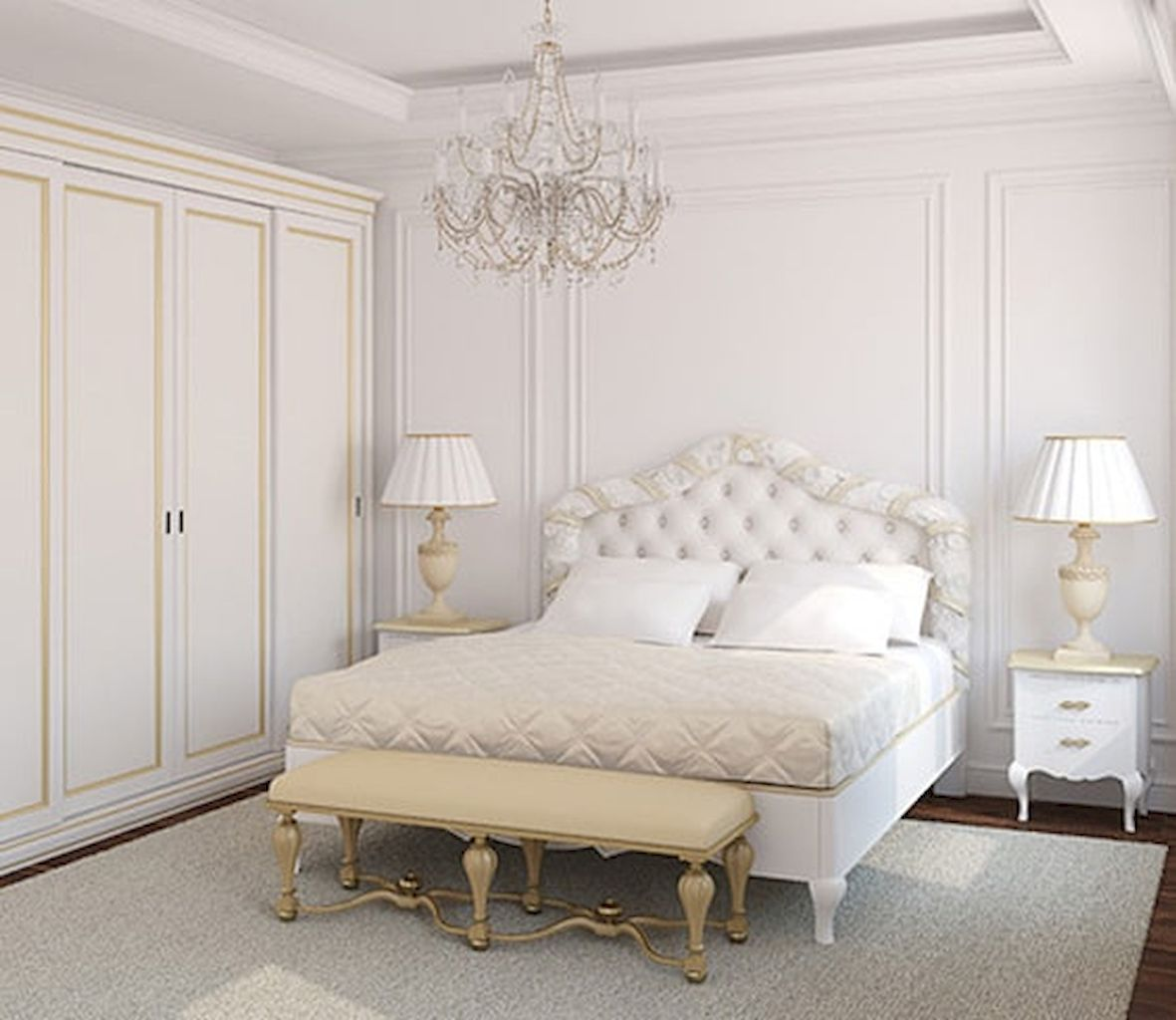 White Bedroom Decorating Ideas with Beautiful Accent Part 27