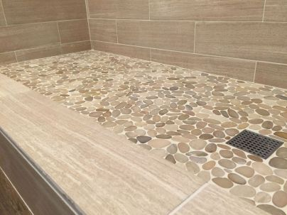 Antislippery pebble floor for cozy bathroom concept Part 21