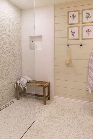 Best bathroom pebble floor designs that add natural bathroom look Part 10