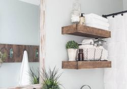 DIY bathroom shelves from wood pallets that improve bathroom looks Part 14