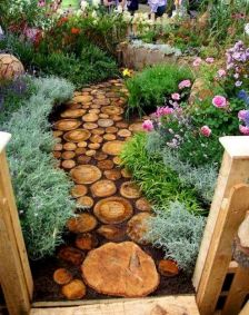 Garden wooden pathways that look blending with nature Part 18
