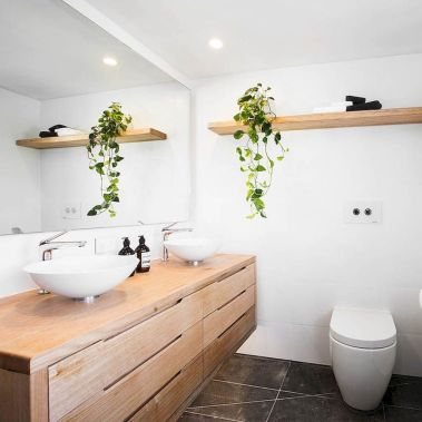 Modern bathroom designs with floating wood vanity and wallmounted bathroom cabinets Part 1