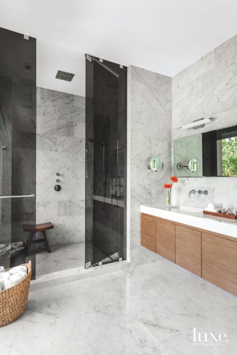 Modern bathroom designs with floating wood vanity and wallmounted bathroom cabinets Part 20