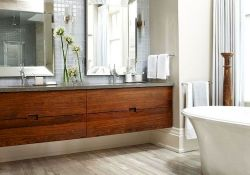 Modern bathroom designs with floating wood vanity and wallmounted bathroom cabinets Part 24