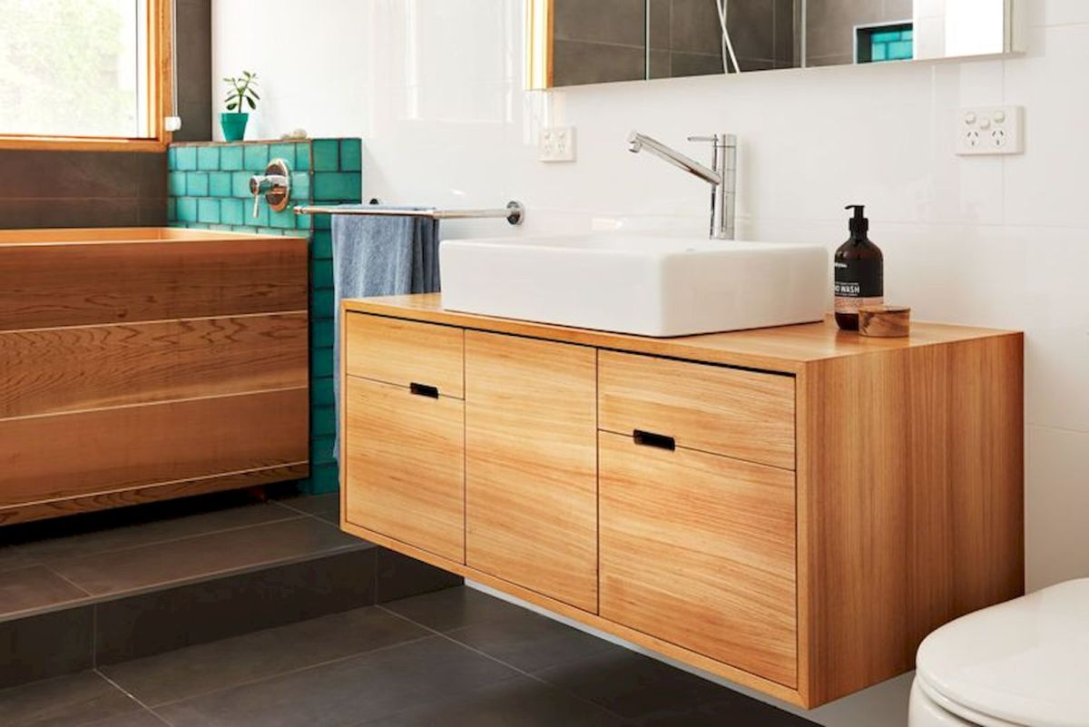 Modern bathroom designs with floating wood vanity and wallmounted bathroom cabinets Part 5
