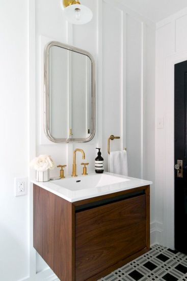 Modern bathroom designs with floating wood vanity and wallmounted bathroom cabinets Part 6