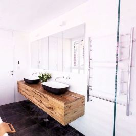 Modern bathroom designs with floating wood vanity and wallmounted bathroom cabinets Part 9
