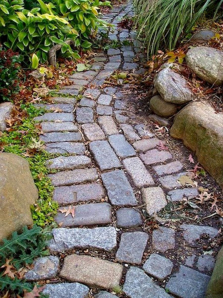 Natural garden walk ways from large stones and flagged stones Part 24