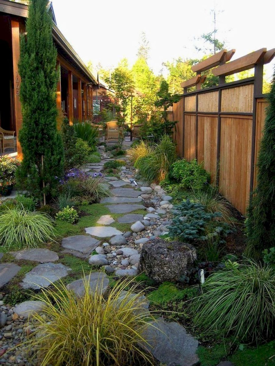 Natural garden walk ways from large stones and flagged stones Part 32