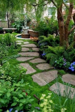 Natural garden walk ways from large stones and flagged stones Part 34