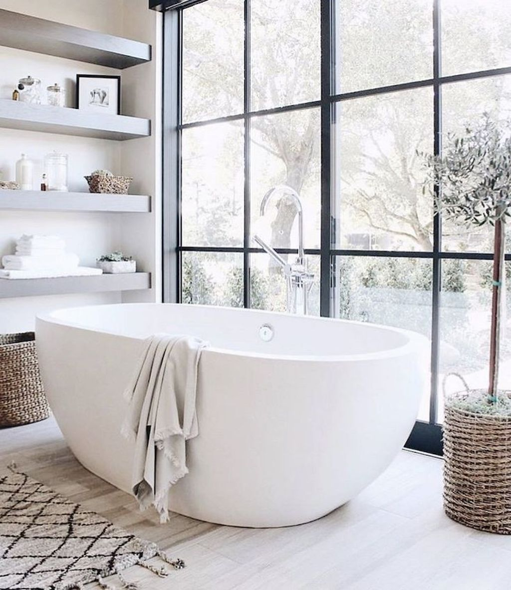 Open shelving at end of a bathtub for more efficient bathroom organization Part 38
