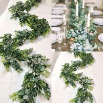 Refreshing spring wedding garland with green and ivory color theme decoration over the walls wedding arch and tables Part 2