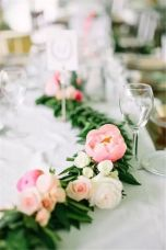 Refreshing spring wedding garland with green pink peach and ivory color themes over the walls wedding arch and tables Part 29