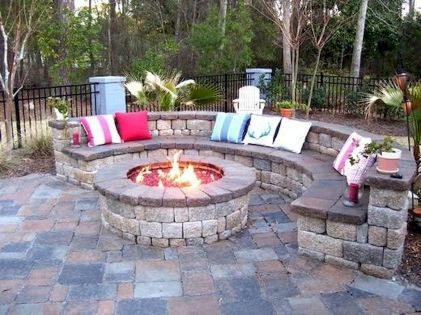 Round firepit design for outdoor living and gathering space ideas Part 1
