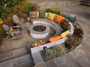 Round firepit design for outdoor living and gathering space ideas Part 14