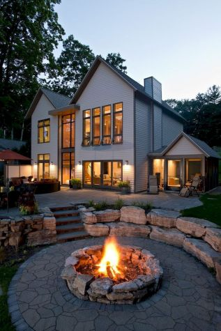 Round firepit design for outdoor living and gathering space ideas Part 15