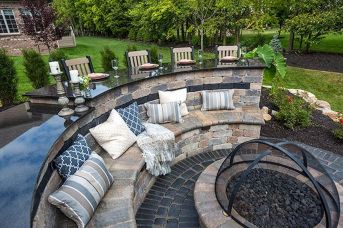 Round firepit design for outdoor living and gathering space ideas Part 17