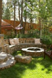 Round firepit design for outdoor living and gathering space ideas Part 18