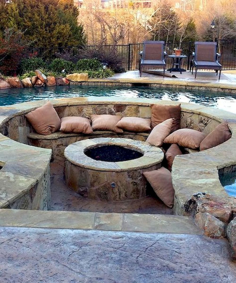 Round firepit design for outdoor living and gathering space ideas Part 20