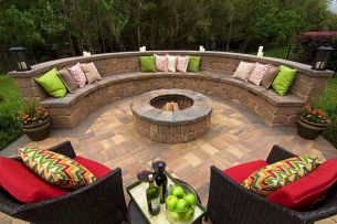 Round firepit design for outdoor living and gathering space ideas Part 23