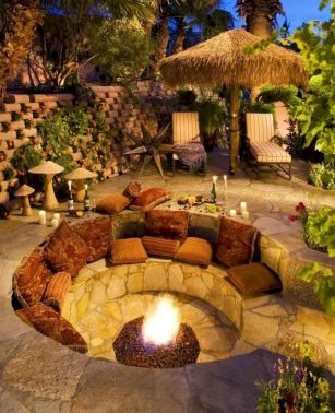 Round firepit design for outdoor living and gathering space ideas Part 4