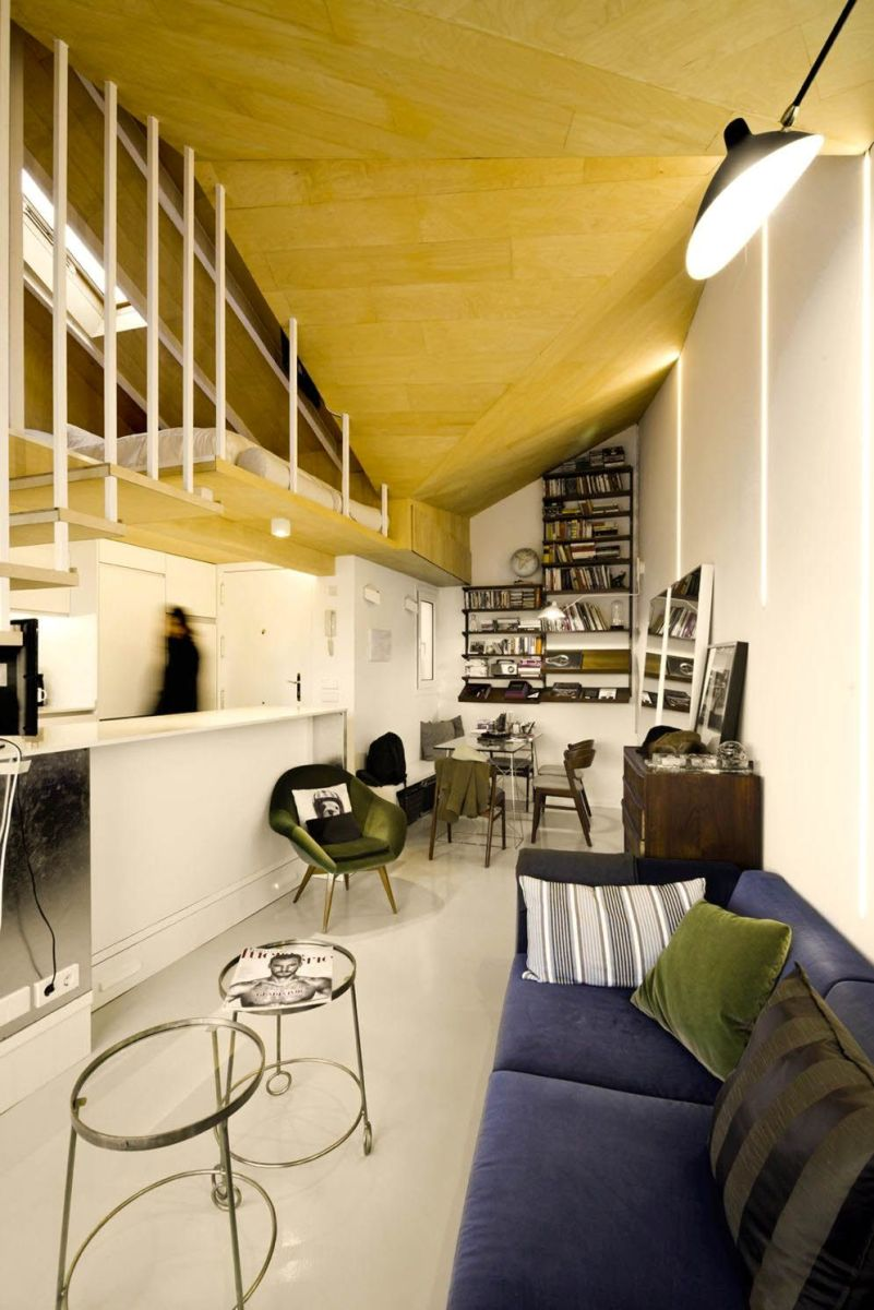 Amazing kitchen arrangement that simple and functional space from attic ronovation in Madrid MULTIPLYING ARCHITECTURES (III) Duplicated Renovation (2)