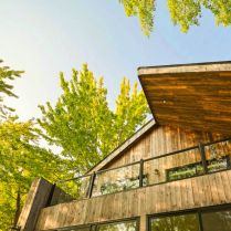 Impressive wood clad exterior to show Saint Placide Chalet with extensive concept that grabs more warmth welcome for the family (3)