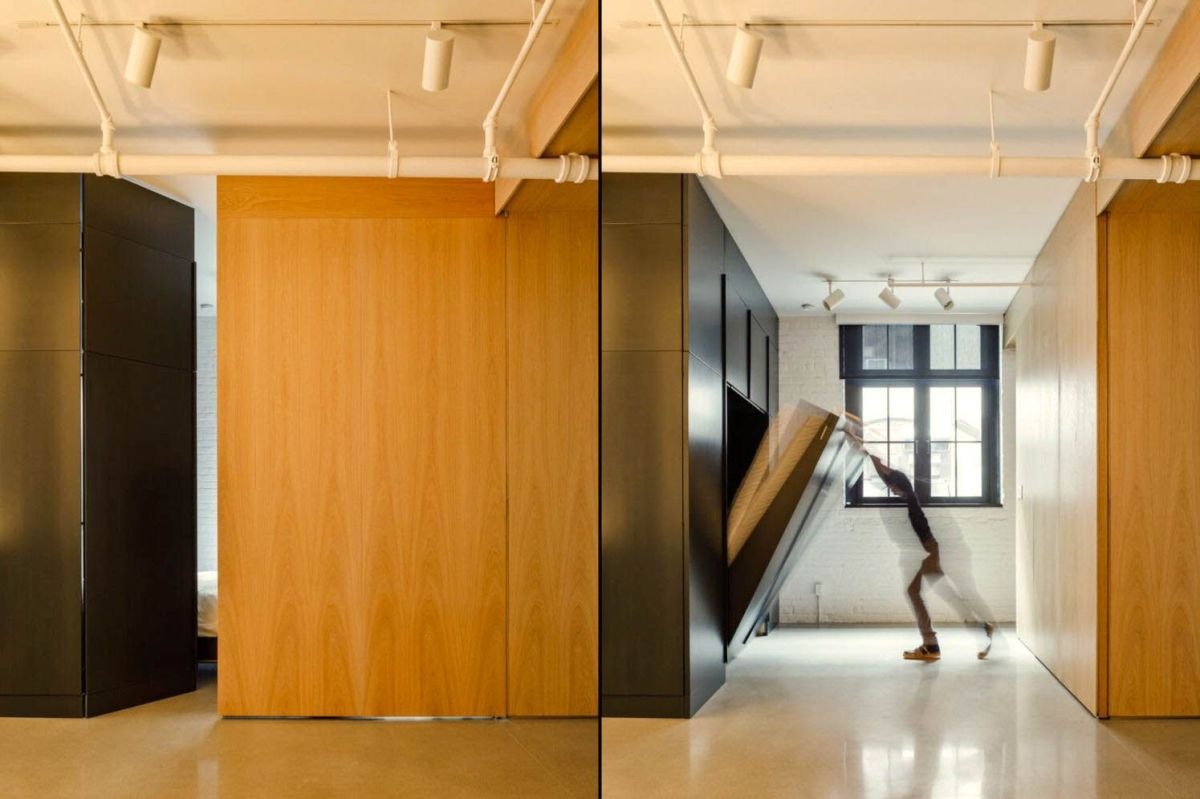 Wood accent as partition and cabinetry in MCGILL 120 renovation for a loft in Vieux Montreal (6)